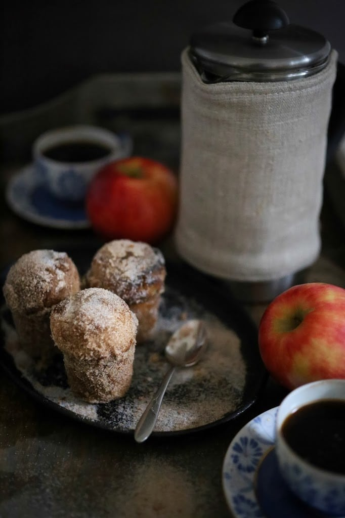 "Apple Brown Butter Bouchons ( also called "" donut muffins "")  --these delicious guys are very easy to make and so delicious. Baked instead of fried they are healthier than donuts.  www.feastingathome.com #apple"