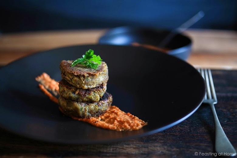 A delicious recipe for Romesco Sauce. Serve it with Roasted Cauliflower Steaks, roasted Potatoes, or these Sweet Potato Cakes- EASY & flavorful! GF, Vegan   www.feastingathome.com