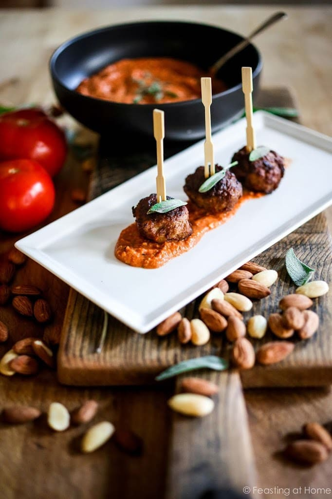 A delicious recipe for Romesco Sauce. Serve it with Roasted Cauliflower Steaks, roasted Potatoes, or Oven baked ricotta Meatballs! EASY & flavorful! GF, Vegan   www.feastingathome.com