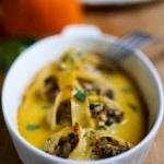 Stuffed Shells with Pumpkin Parmesan Sauce | www.feastingathome.com