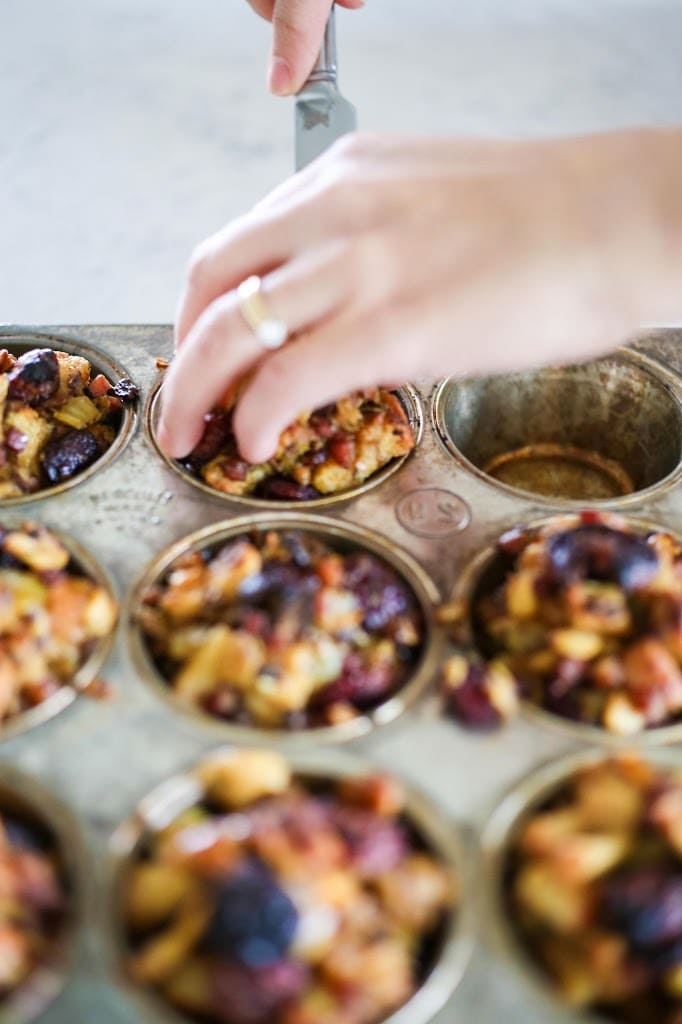 Delicious little bites, these Thanksgiving Stuffing Muffins make the perfect appetizer for your Thanksgiving day gathering. Easy, tasty! | www.feastingathome.com