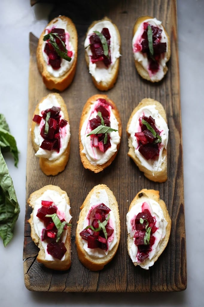 25 Appetizers to Bring to a Party! (That are not boring) | Beet Bruschetta with Goat Cheese and Basil and simple delicious appetizer that is full of amazing flavor! #beets #beet #appetizer #bruschetta #beetrecipes #goatcheese #beetappetizer