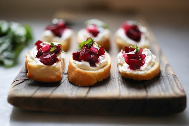 Beet Bruschetta with Goat cheese and basil, as simple tasty recipe  www.feastingathome.com