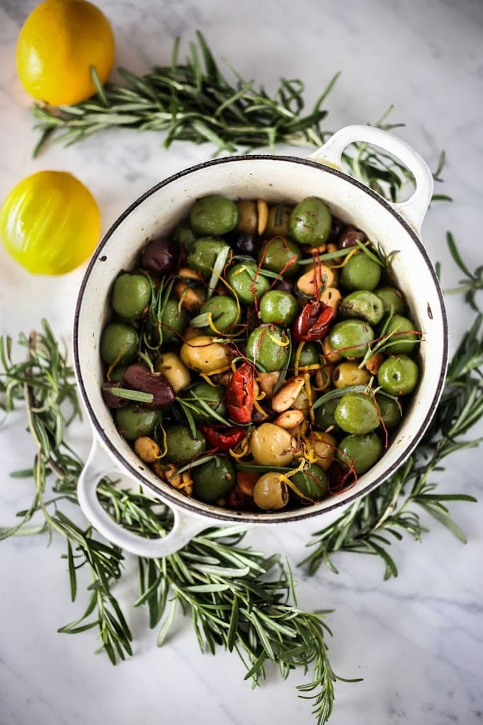 Warm Rosemary Olives with Chili Threads | www.feastingathome.com