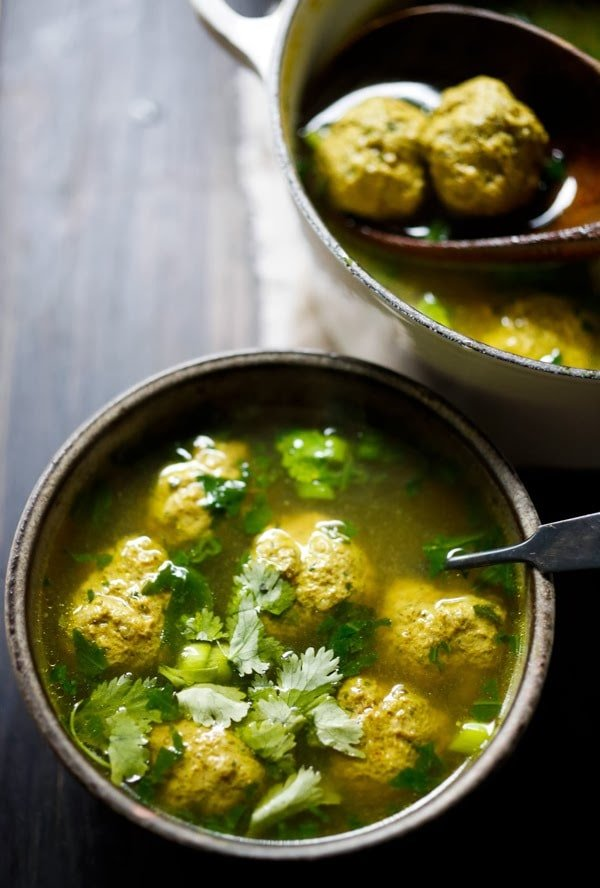 Meatball Soup with Turmeric, Spinach and Lime - inspired by flavors form the Middle East. This Easy, low- carb is healthy, light and full of amazing flavor! #paleo #keto #meatballsoup #broth #brothbasedsoup #meatballsouprecipe #lowcarbsoup #middleeastern