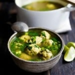 Arabic Meatball Soup with Spinach and Lime | www.feastingathome.com