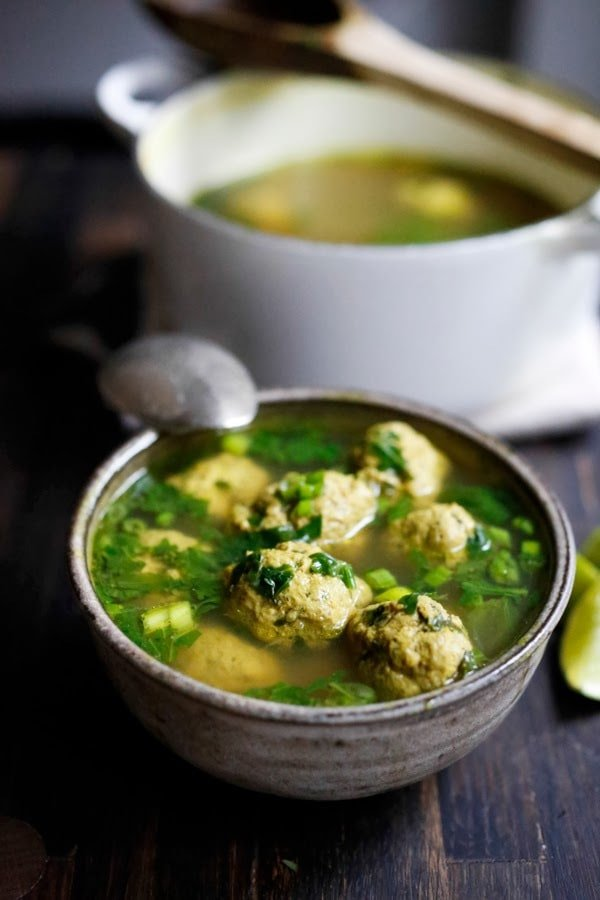Arabic Meatball Soup With Spinach Mint And Lime