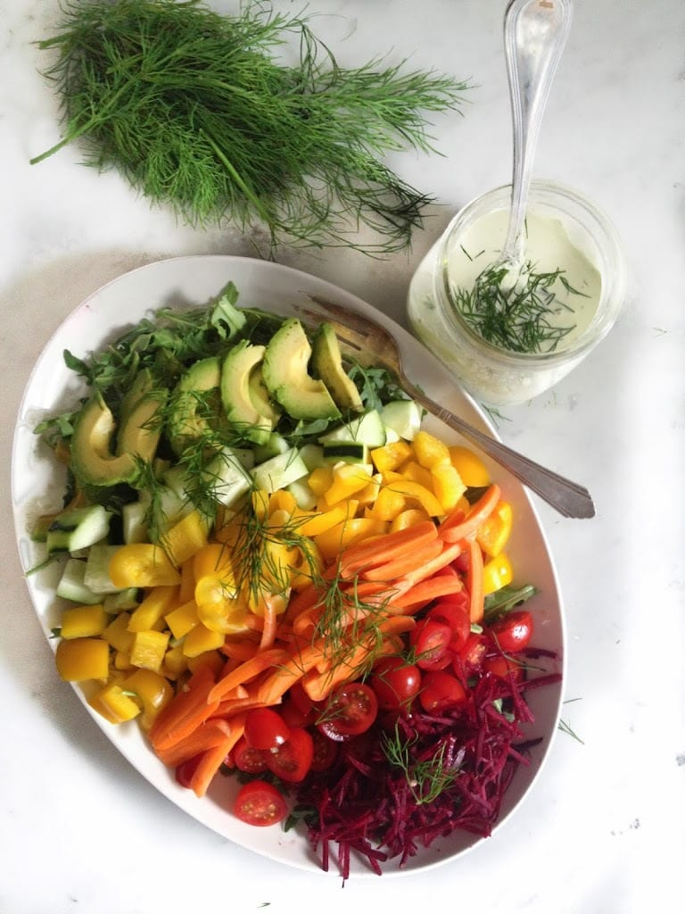 Simple,tasty Rainbow Salad with Creamy Dill Dressing, loaded up with fresh grated beets, radishes, carrots, cucumber & whatever seasonal veggies you like.