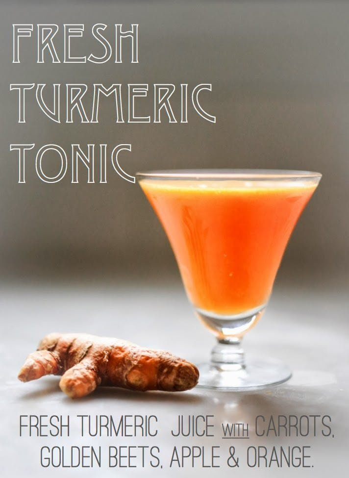Delicious and detoxing Turmeric Tonic - a fresh and energizing juice made with fresh turmeric root, ginger, orange, apple and carrot to help sooth the body, fight inflammation, and revitalize and energize. Sunshine for the soul!