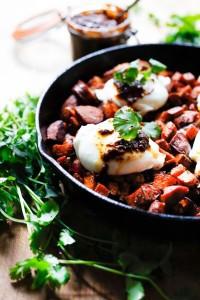 Sweet Potato Hash with Poached Eggs and Harissa | www.feastingathome.com