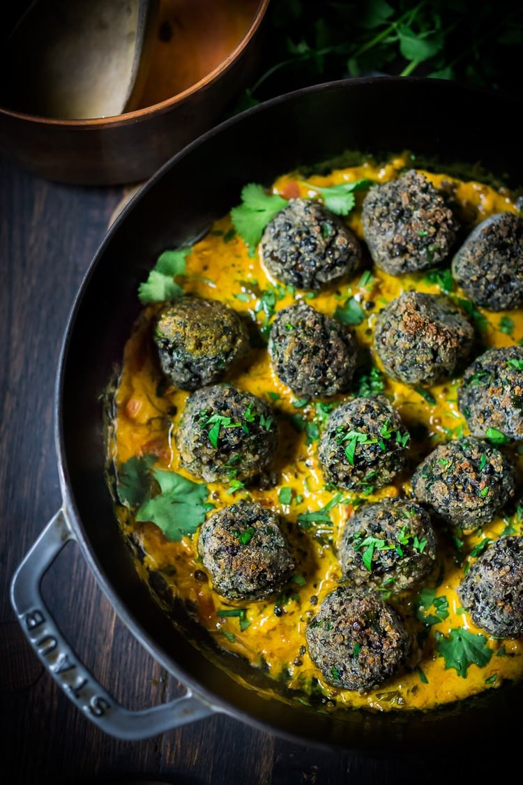25 Best Lentil Recipes! | Vegan Lentil Meatballs with Indian Coconut Curry Sauce- a delicious healthy meal infused with fragrant Indian spices. Vegan and Gluten Free! #veganmeatballs #lentilmeatballs #vegan #indianmeatballs #veg