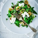 Spring Orecchiette Pasta with fresh peas, asparagus and herbs in a very light carbonara sauce.