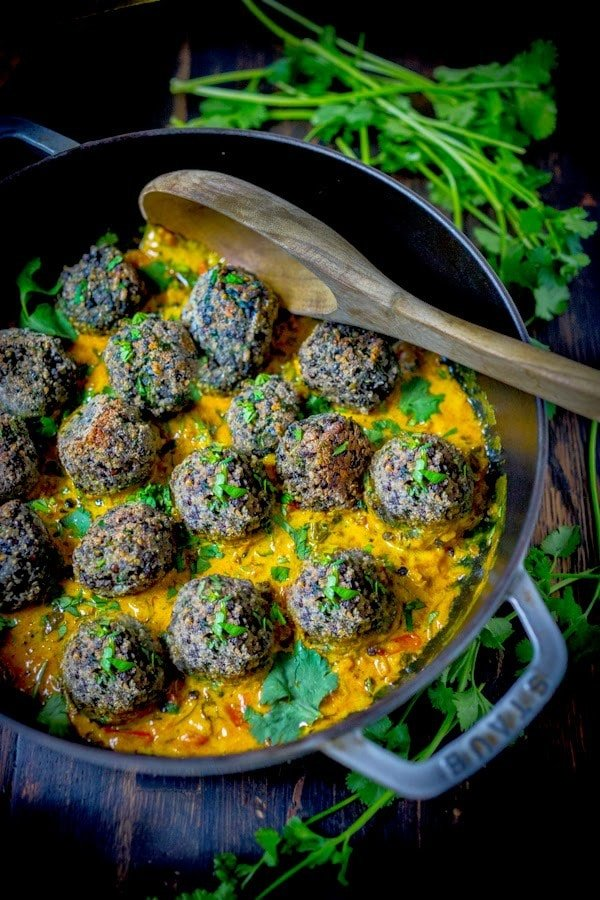 Vegan Lentil Meatballs with Indian Fenugreek Sauce