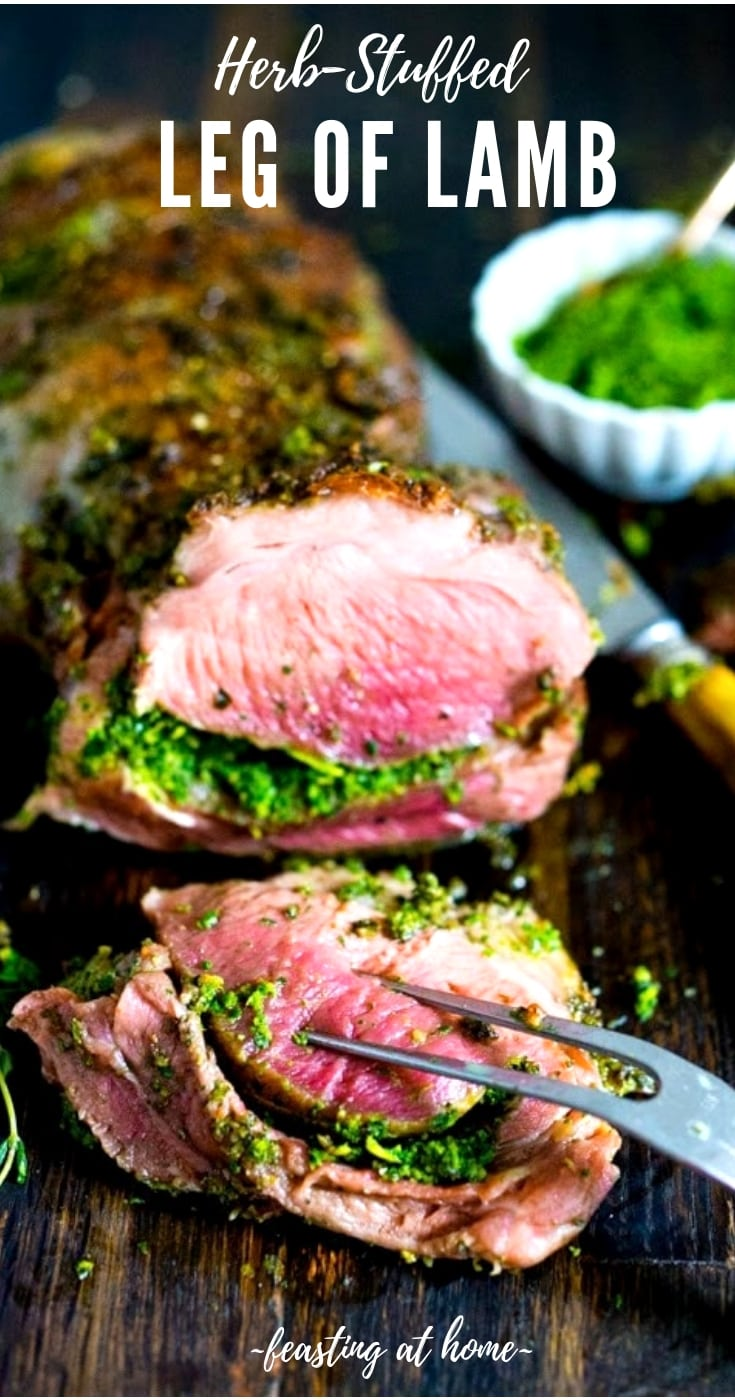 Herb-Stuffed Leg of Lamb with flavorful Mint Gremolata, a step by step guide to an amazingly delicious holiday main course, baked over roasted vegetables. #legoflamb #lamb #lambleg #easterdinner #easter #stuffedlamb #lambrecipes #lambrecipes