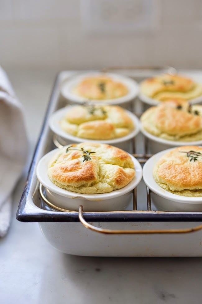 Artichoke Souffle with Goat Cheese and thyme- make with fresh artichoke hearts- a decadent and delicious appetizer. | www.feastingathome.com