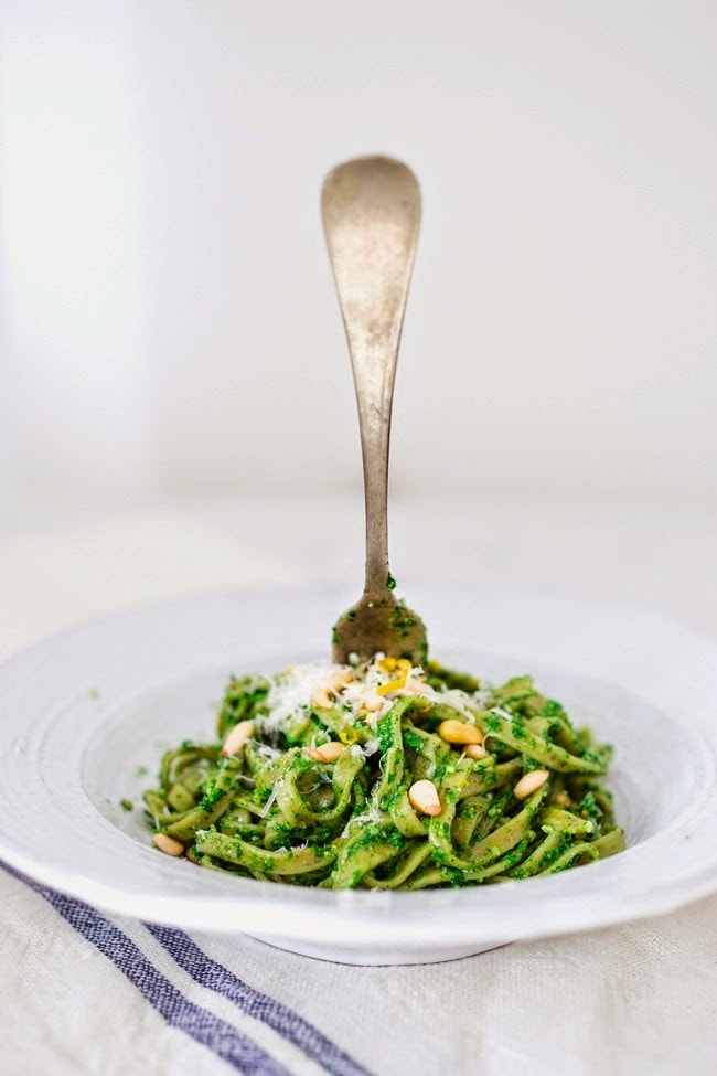 Nettle Pesto Pasta with toasted pine nuts and lemon zest | www.feastingathome.com