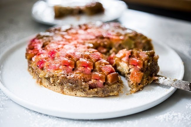 Upside Down Rhubarb Cake Gf Made W Almond Flower Feasting At Home