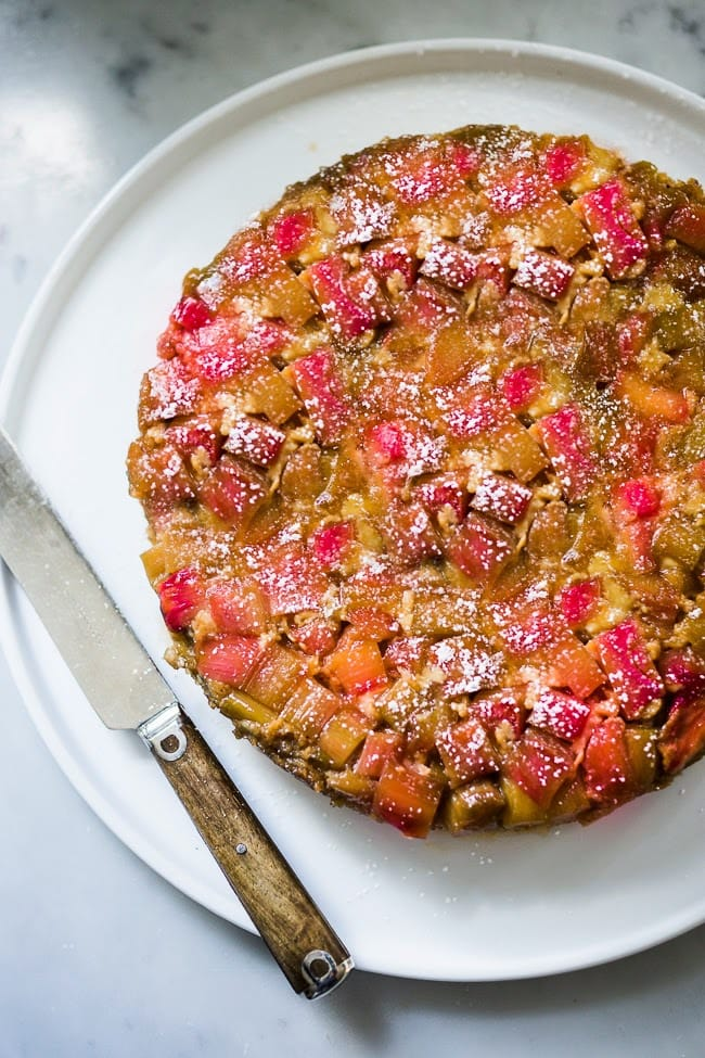 Upside Down Rhubarb Cake that is gluten free- made with Almond Flour. Deliciously addictive, perfect for Spring. | www.feastingathome.com