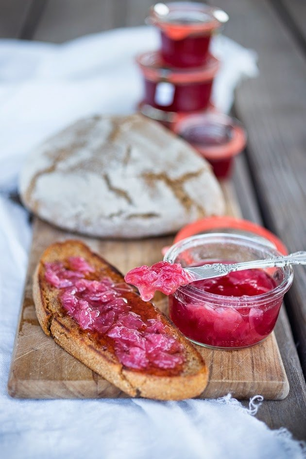 Homemade Rose Petal Jam- a simple delicious recipe made with wild rose petals, perfect on toast, scones or crepes, or spooned over ice-cream or cake. #rosepetaljam #rose #rosejam #roserecipes