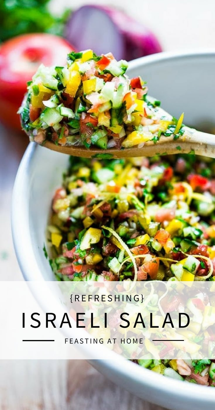 Simple healthy Israeli Salad, made with finely chopped vegetables, fresh herbs, lemon and olive oil. Vegan and Gluten Free!   www.feastingathome.com #israelisalad #vegan #vegansalad #veggies #lunch #middleeastern #healthysalad