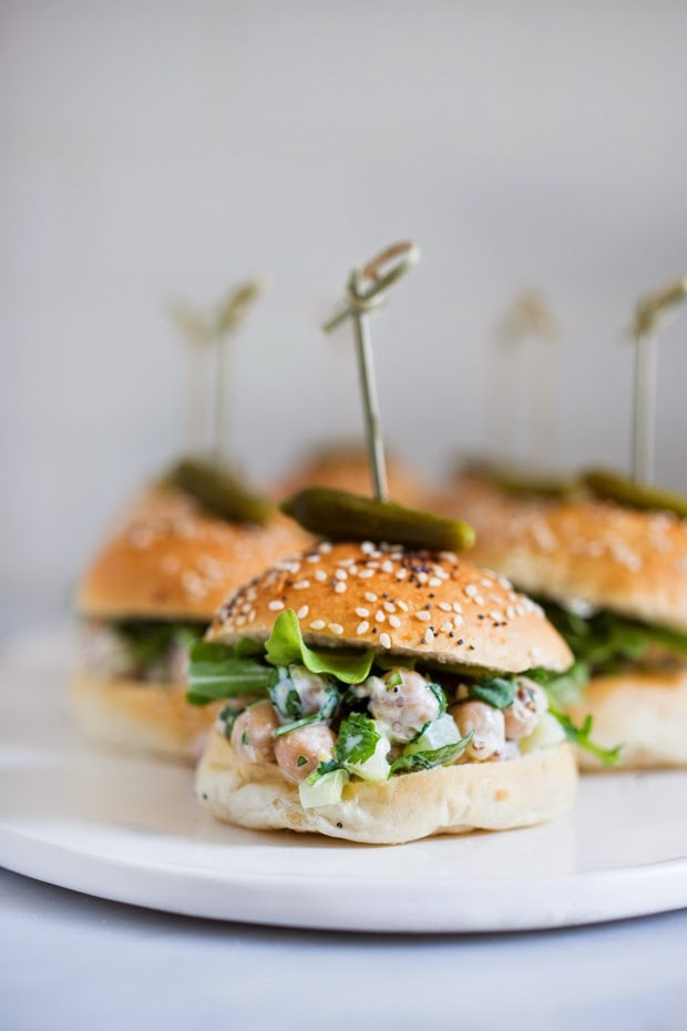 EASY Vegan Chickpea Sliders with fresh herbs, capers and arugula...so delicious! | www.feastingathome.com