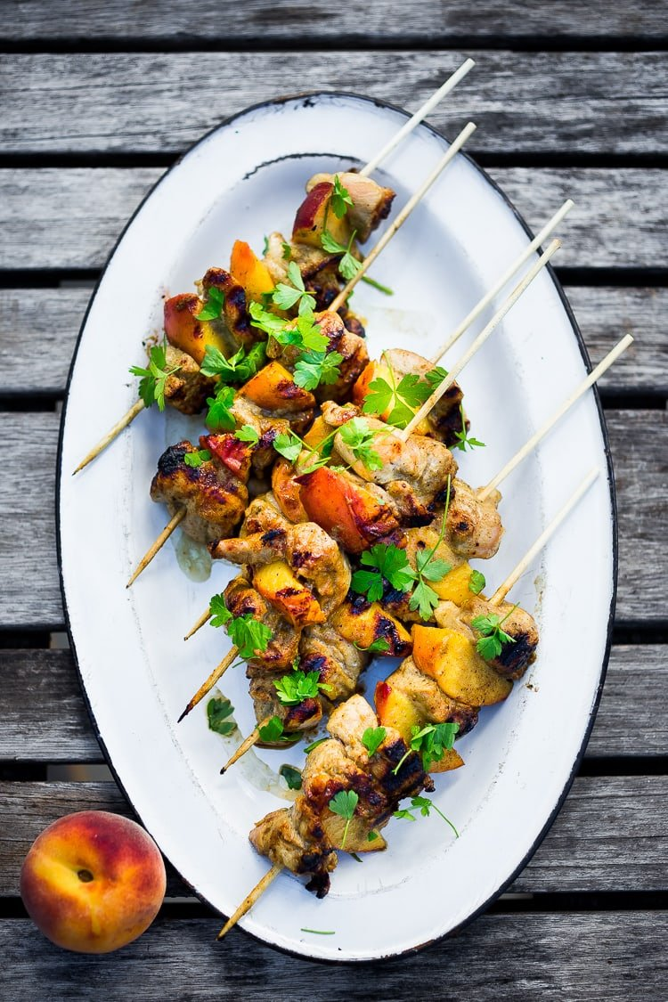 Grilled Jamaican Jerk Chicken and Peach Skewers, a delicious summertime meal. #peaches #jerkchicken #chickenskewers #peach