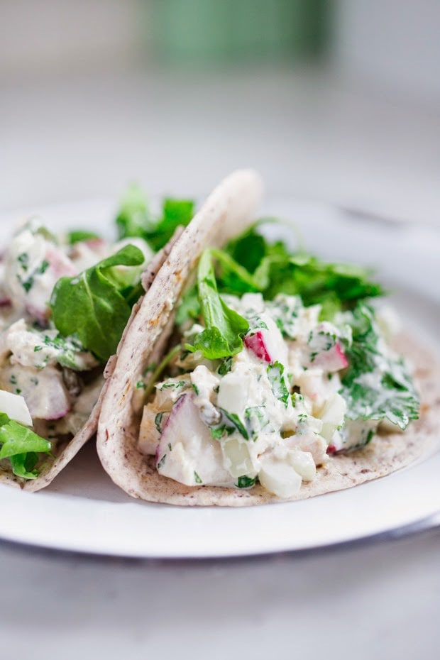 Mexican Tuna Salad Tacos with radish, cucumber, cilantro and jalapeño, a quick, healthy 5 minute meal! | www.feastingathome.com