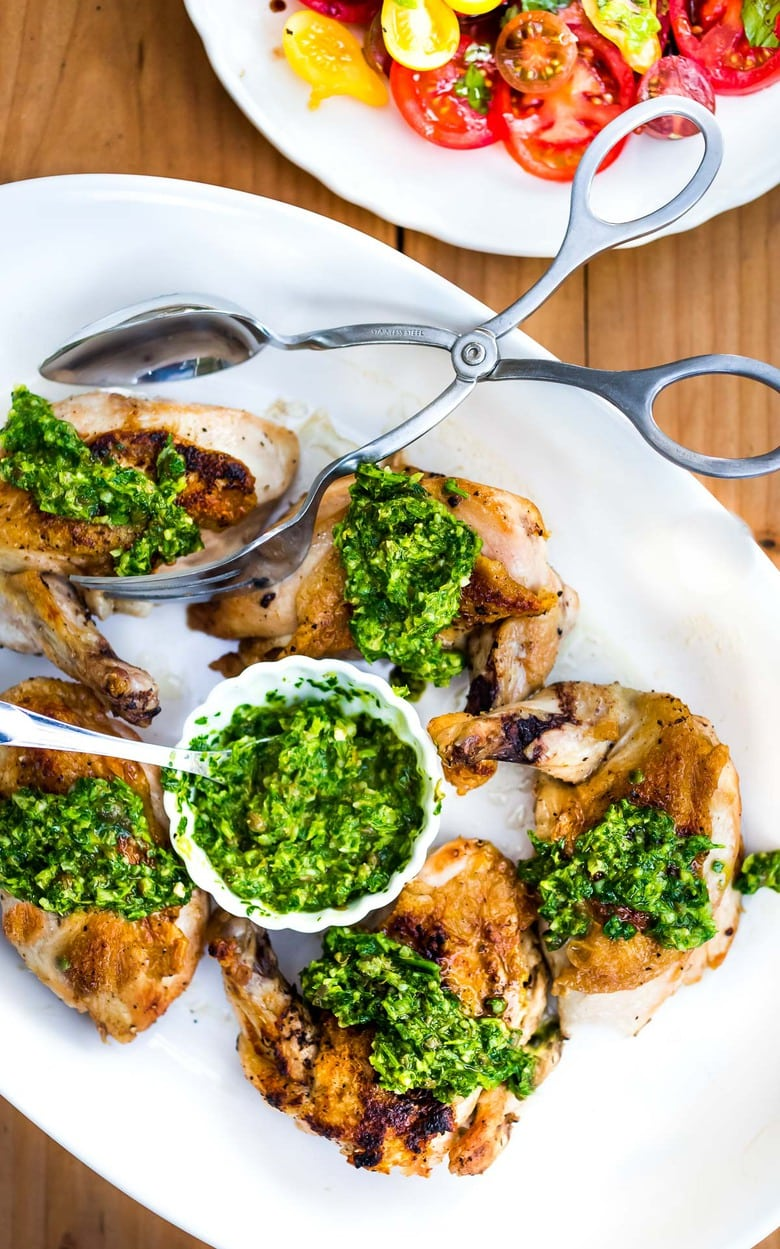 Grilled Chicken with Salsa Verde (an Italian herby caper sauce) - a simple easy weeknight meal perfect for supper on the patio! #grilledchicken #salsaverde #italianchicken