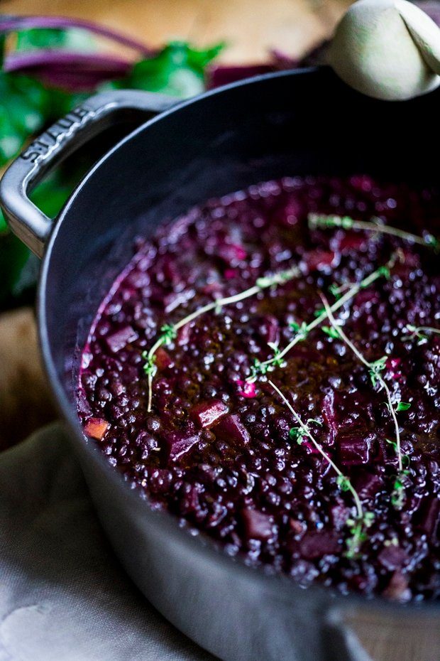 Lentils and Beet Soup - a healthy vegan stew or soup, that can be served on its own, or as a side dish to fish, chicken or meat. Vegan and Gluten free!  #lentilsoup #veganlentilsoup #beets #lentilsandbeets #glutenfree #vegan #lentilsouprecipe