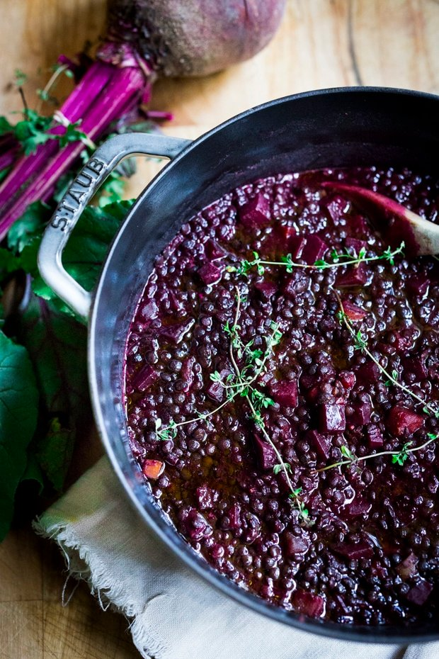 Braised Lentils and Beets - a healthy vegan stew or soup, that can be served on its own, or as a side dish to fish, chicken or meat. Vegan and Gluten free!  #lentilsoup #veganlentilsoup #beets #lentilsandbeets #glutenfree #vegan #lentilsouprecipe