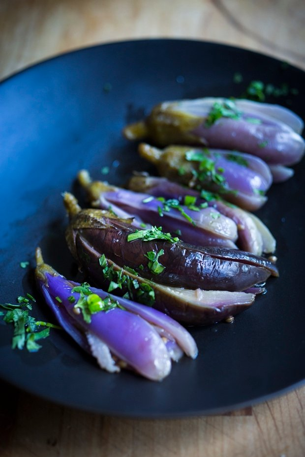 Moroccan Eggplant Pickles with garlic, coriander seeds and cilantro. A delicious way to preserve your garden eggplant just a little bit longer! Drizzle with olive oil and sprinkle with fresh herbs, they make the perfect side to any Mediterranean-style meal. | www.feastingathome.com.com #pickledeggplant #eggplantpickles #moroccaneggplant #eggplantsalad #eggplantrecipe #pickles #pickledveggies