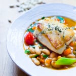 Sea Bass with Cannellini Bean Stew | www.feastingathome.com