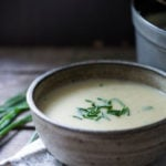 Best Ever Potato Soup! A simple, easy recipe for Potato Soup that is healthy, vegetarian and lightened up! Creamy, flavorful and delicious! #potatosoup #potatosouprecipe #vegetarain #potatoes #healthysoup #leeks