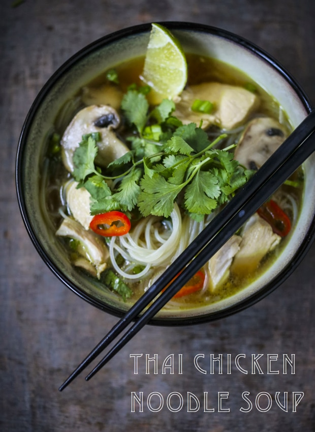Thai Noodle Soup + Here are 10 cozy, Rut-Busting Fall recipes to help inspire us to break us out of the habit of making the same old things this fall! | www.feastingathome.com