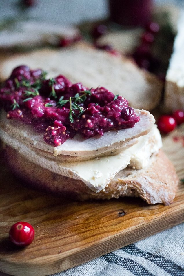 Turkey Brie Grilled Cheese Sandwich with Cranberry Mustard | www.feastingathome.com