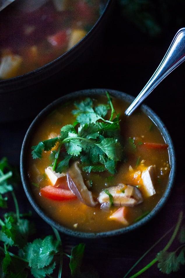 Vietnamese Hot and Sour Soup Tamarind Soup with Tofu. Vegan GF | www.feastingathome.com #vegan #soup