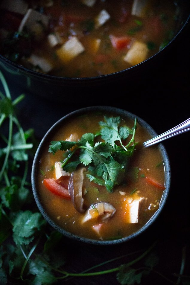 Vietnamese Hot and Sour Soup Tamarind Soup with Tofu. Vegan GF | www.feastingathome.com