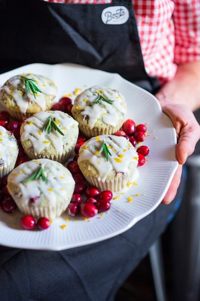 Cranberry Orange Muffins with Rosemary-Vegan & GF! | www.feastingathome.com