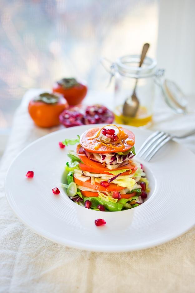 Persimmon Salad , with fennel, pomegranate, butter lettuce and  honey citrus dressing. vegan, gf | #persimmon  www.feastingathome.com
