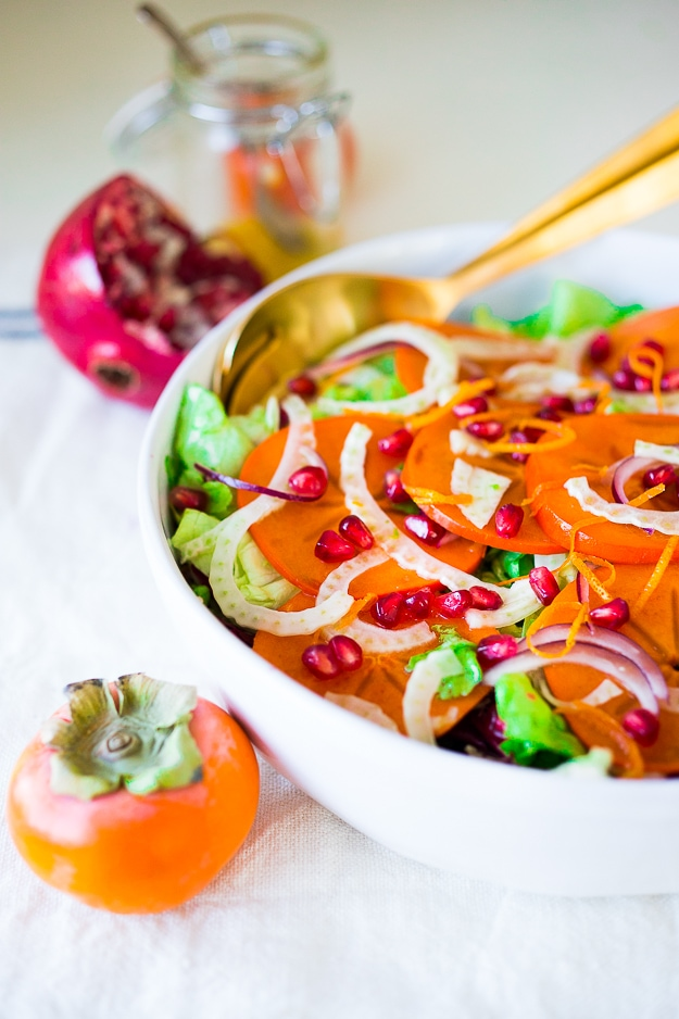 Persimmon, pomegranate and shaved fennel salad with honey citrus dressing. vegan, gf | www.feastingathome.com