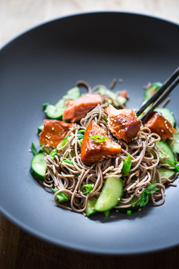 20 Healthy Lunches! |Soba Noodle salad with cucumbers, scallions and Smoked salmon with a sesame dressing. #healthylunch #soba #sobasalad #sobanoodles #healthylunches www.feastingathome.com