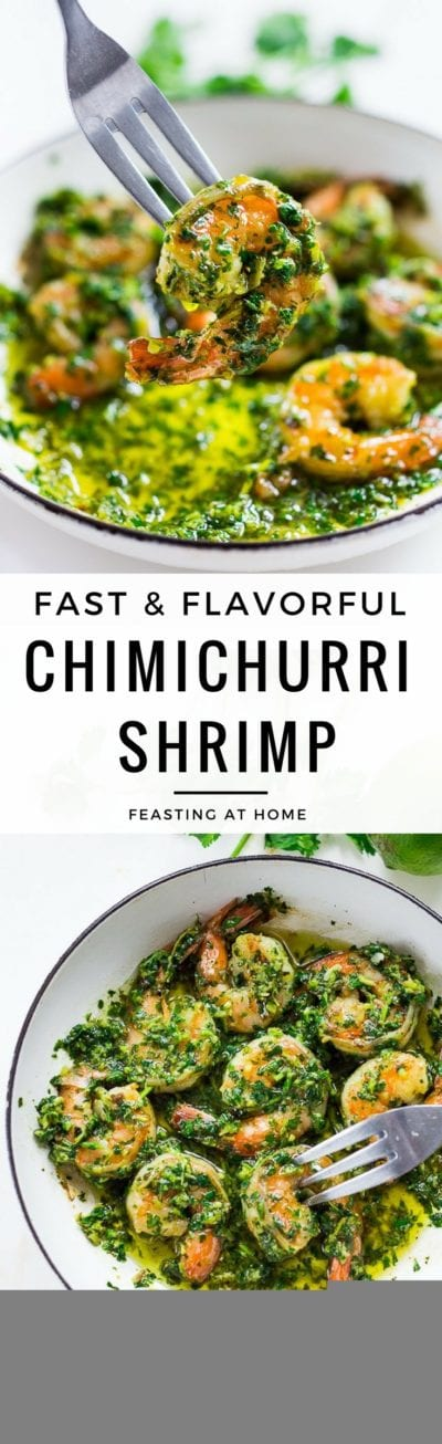 Chimichurri Shrimp- A fast, flavorful and easy dinner, served over rice, or serve them up as an appetizer! GF | www.feastingathome.com #chimichurri #shrimp #chimichurrishrimp