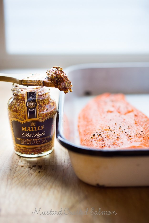 3 Ingredient Mustard Crusted Salmon- make in 15 mins! |www.feastingathome.com