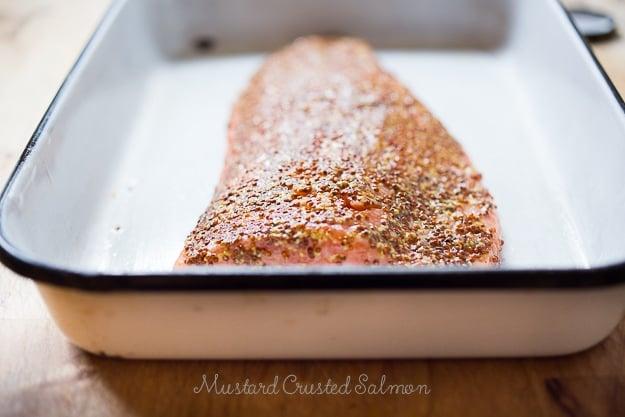 3 Ingredient Mustard Crusted Salmon- make in 15 mins! |www.feastingathome.com