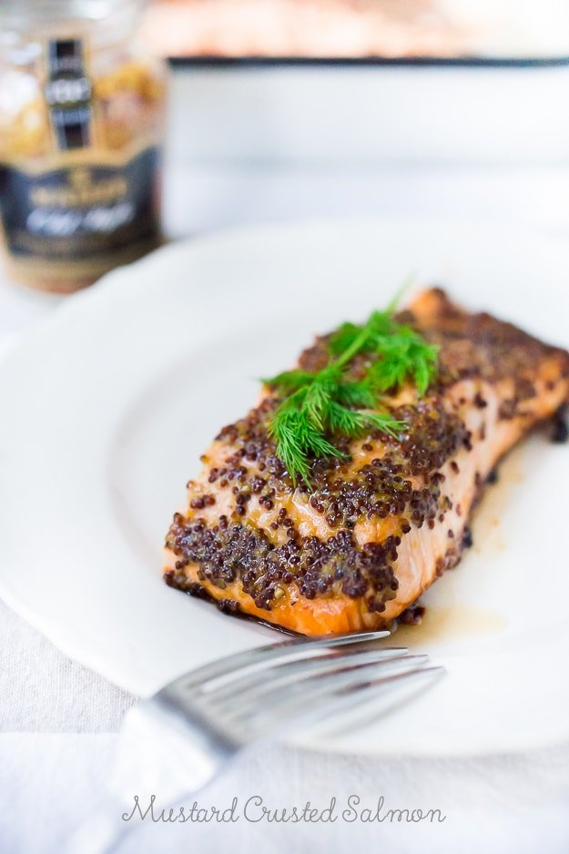 Simple 3 Ingredient, Mustard Baked Salmon! Easy, fast and full of flavor! #salmon #bakedSalmon #mustard #easysalmonrecipe