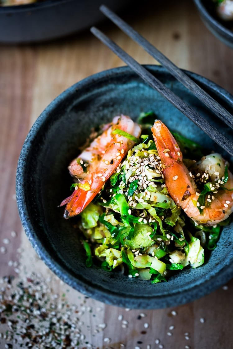 Furikake Brussel Sprouts and Shrimp -a quick and healthy Japanese-inspired meal that can be made in under 30 minutes, a delicious weeknight dinner! Gluten-free, Low carb, Paleo! #brusselsprouts #shrimp #keto #paleo #lowcarb #stirfry #weeknightdinner