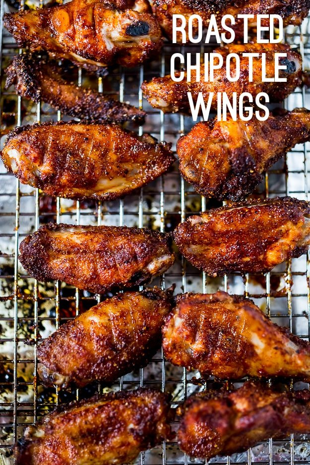 Baked Chicken Wings w/ Smoky Chipotle Rub & Creamy Cilantro Dipping Sauce. A fast and healthy approach to chicken wings, packed full of deep smoky flavor! #wings #bakedwings #chipotle