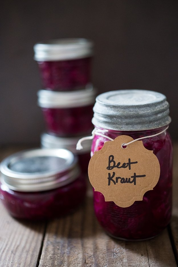 A simple, easy, small-batch recipe for Beet and Cabbage Sauerkraut that anyone can make using a mason jar, that takes only 20 minutes of hands-on time. Full of good healthy good bacteria that will energize the body and help heal the gut.    #fermentation #kraut #sauerkraut #beets #beetkraut