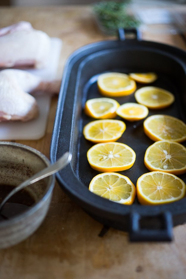 Roasted Sumac Chicken with Meyer Lemons...juicy flavorful Middle Eastern baked chicken dish that will make your mouth water! #paleo #lowcarb #keto #sumac #sumacchicken #easy #roastedchicken #Gluten-free.#bakedchicken #feastingathome| www.feastingathome.com