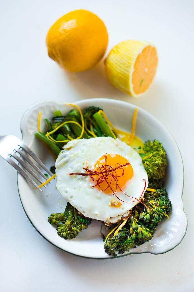 Eggs over Roasted Broccolini, a healthy gluten free breakfast | www.feastingathome.com